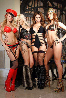 4 Action Girls Posing in sexy Boots and Fishnet