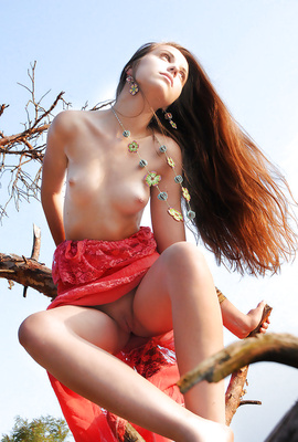 Lovely Nensi with long red hair nude in the wild